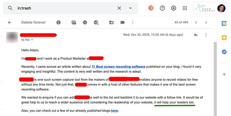Bad Email Outreach Example