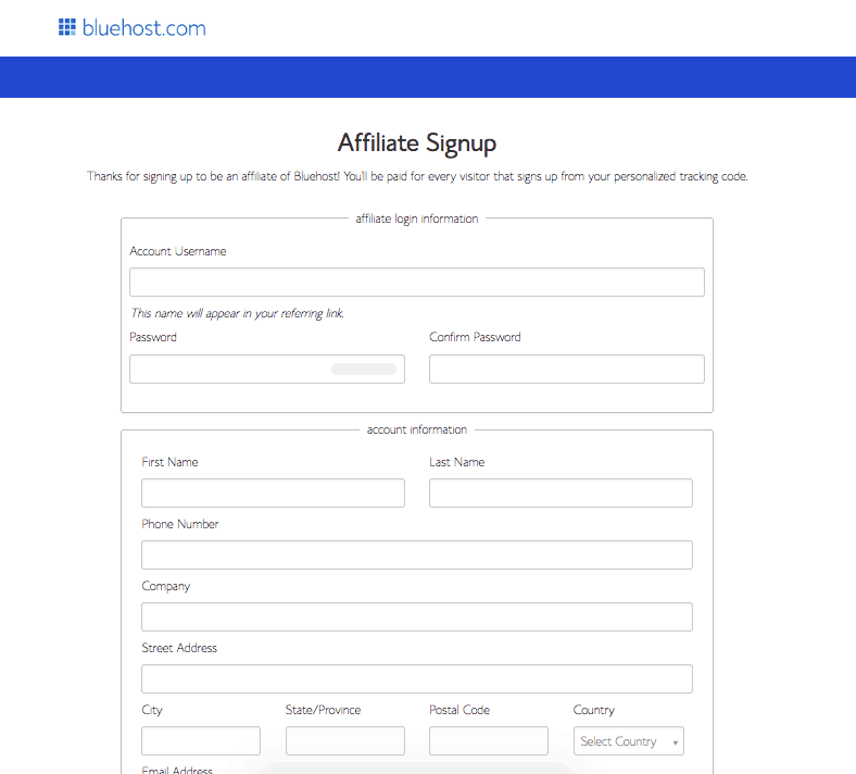 Bluehost Affiliate Sign Up