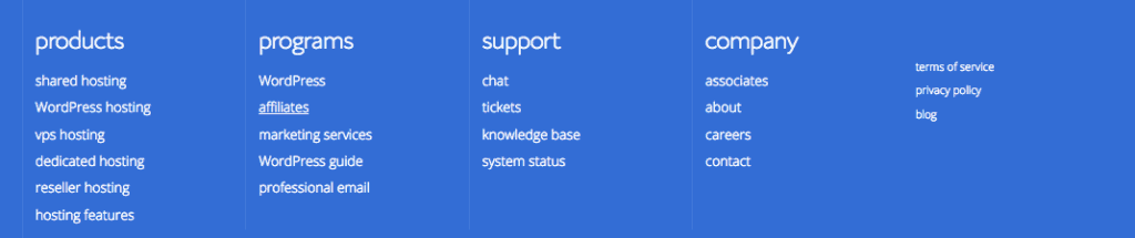 Bluehost Footer