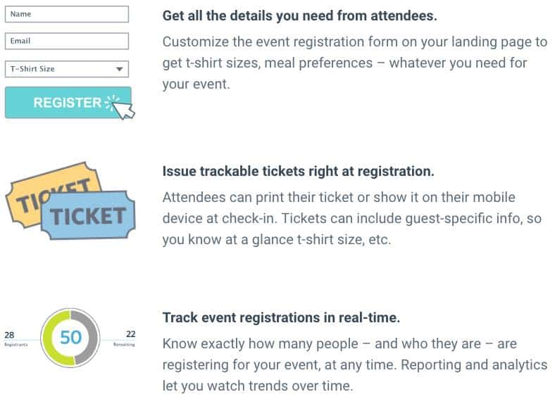 Constant Contact Event Registration Features