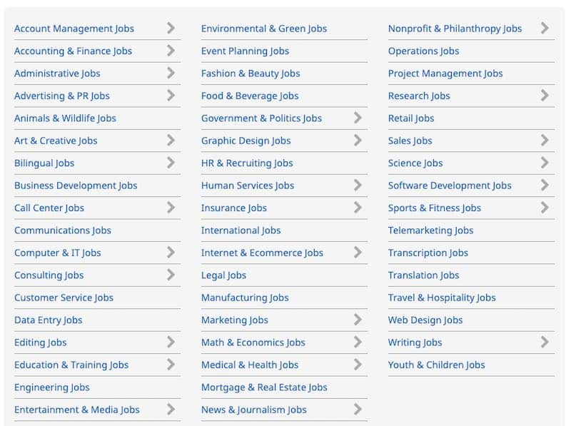 Flexjobs Job Categories List