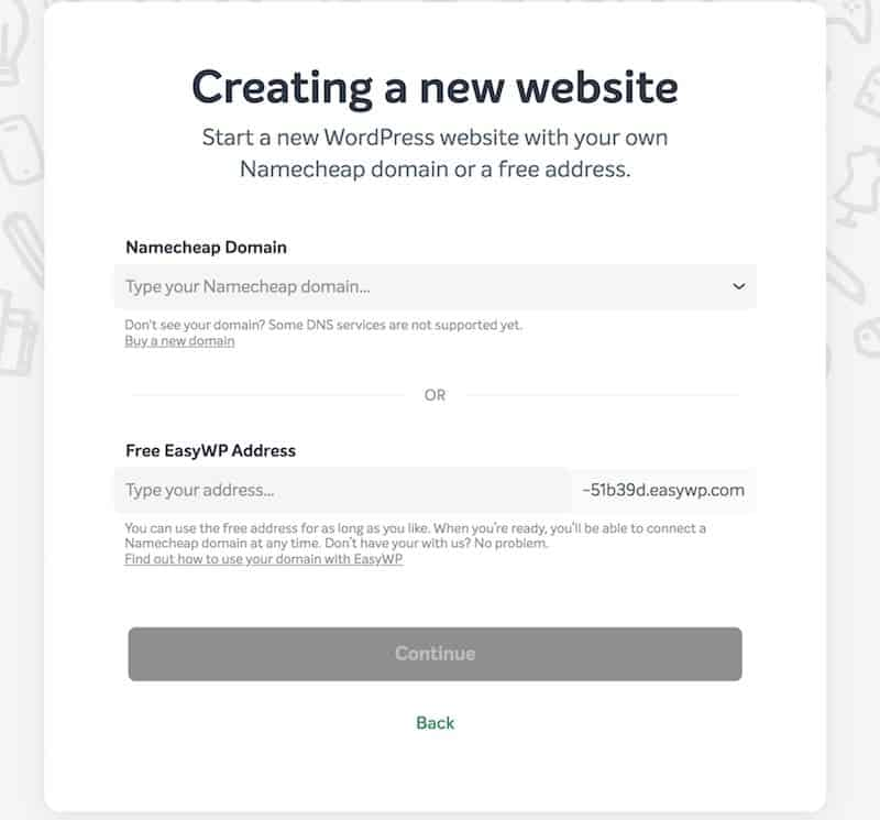 Set up EasyWP Site