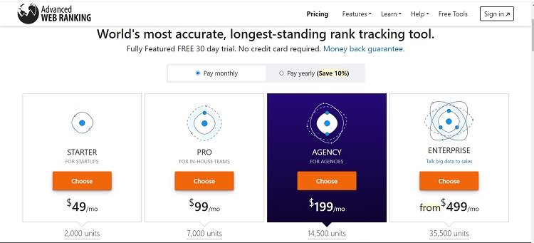 Advanced Web Ranking Pricing Page