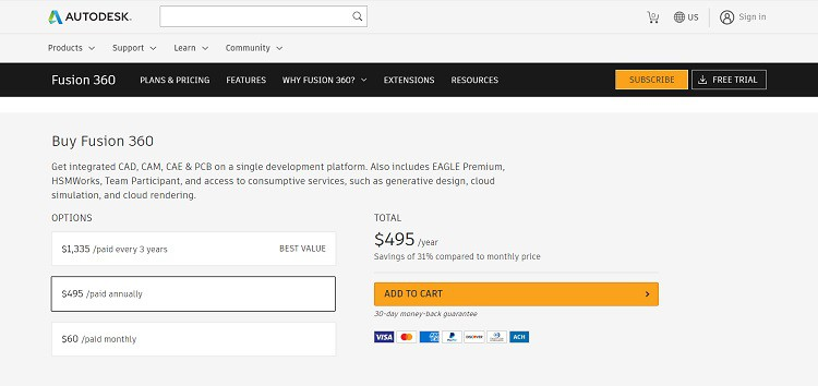 AutoDesk Fusion 360 Buy Page