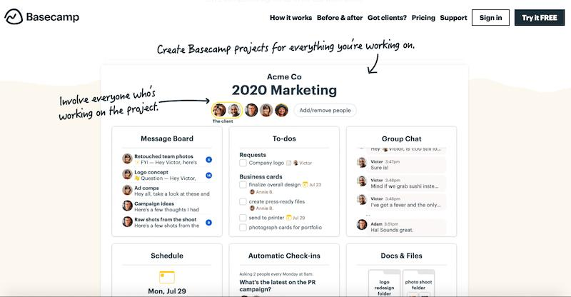 BaseCamp online project management tool