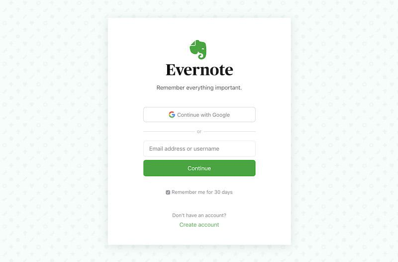 Evernote Login Page