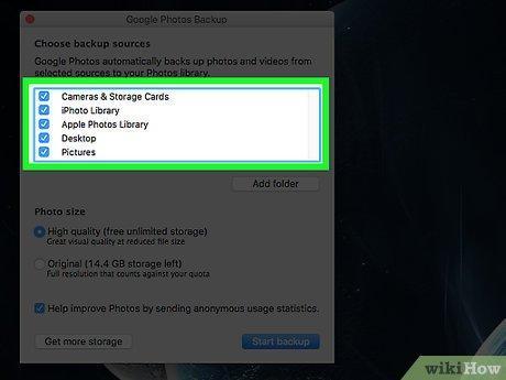 Google Photos backup option