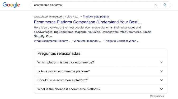 Google search for ecommerce platforms