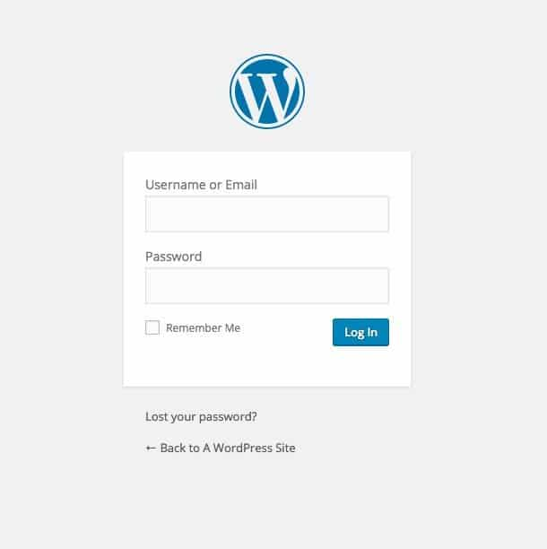 How to Start a Blog - WordPress login