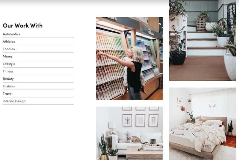 Influencer website example