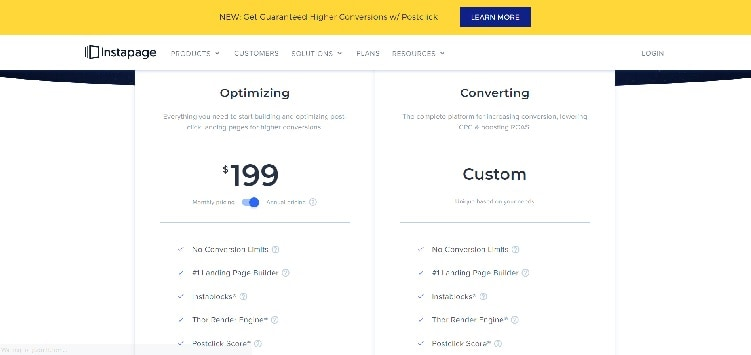 Instapage Pricing Page