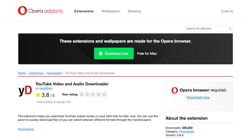Opera Add-Ons YouTube Downloader