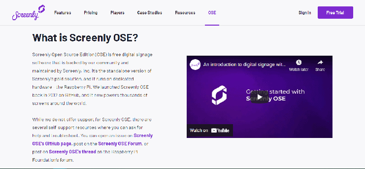 Screenly OSE Homepage