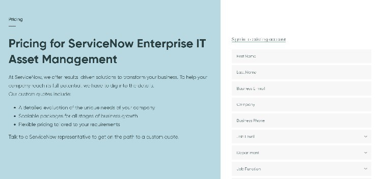 ServiceNow ITAM Pricing Page