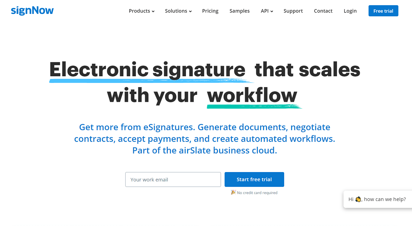 signNow Homepage