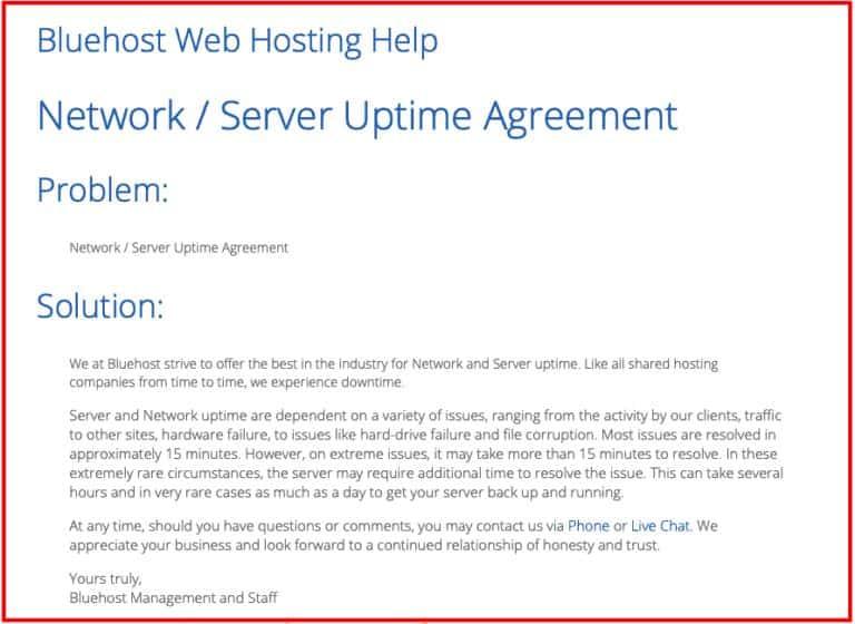 Siteground vs. Bluehost: Bluehost Uptime