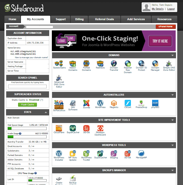 Siteground vs. Bluehost: SiteGround cPanel