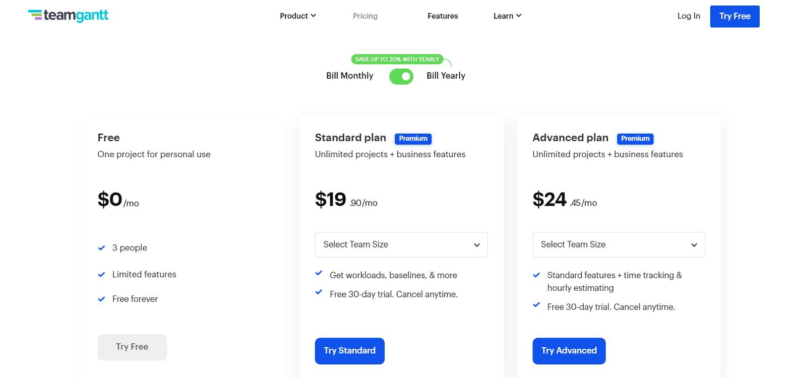 TeamGantt Pricing Page