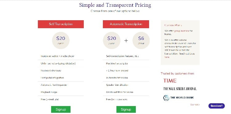 Transcribe Pricing Page