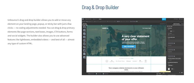 Unbounce drag and drop builder