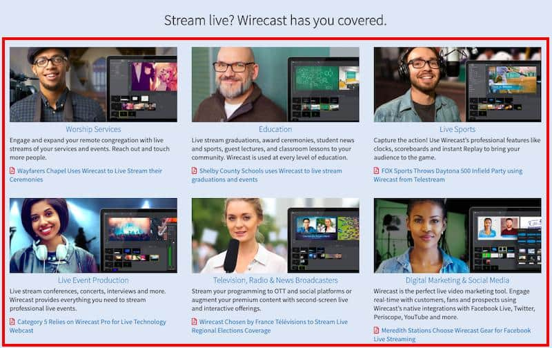 Wirecast Live Stream events