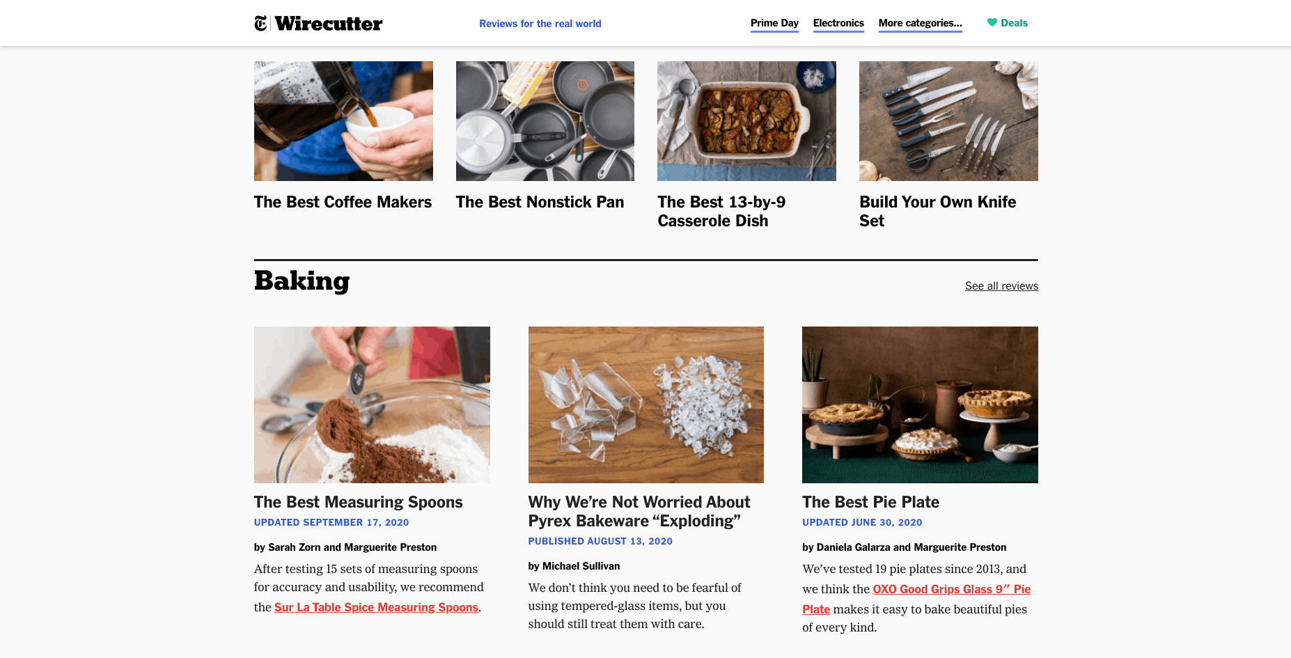 Wirecutter Kitchen and Dining products homepage
