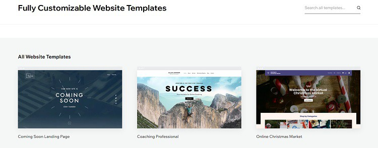 Wix templates example