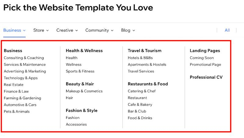 Wix Types of Templates