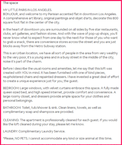 Airbnb Description Example