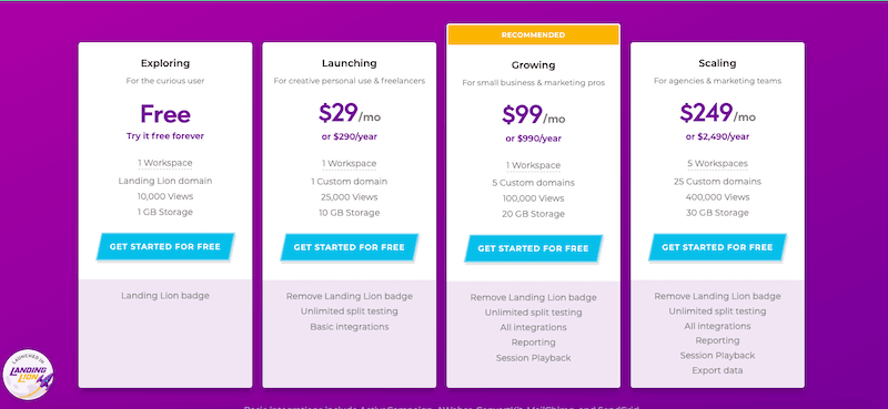 Landing Lion Pricing