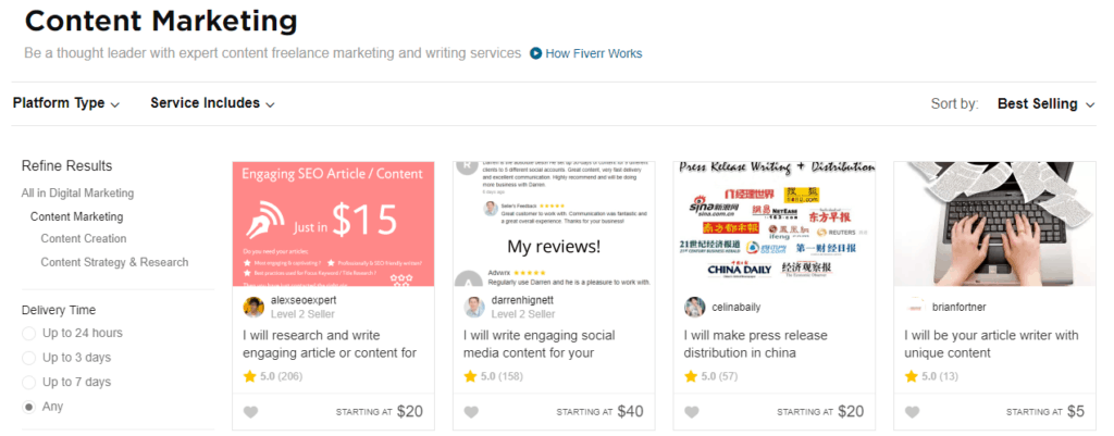 Fiverr Content Marketing