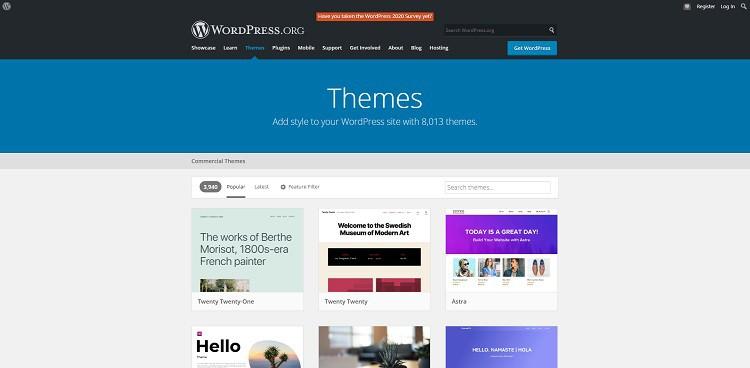 WordPress.org theme inventory page