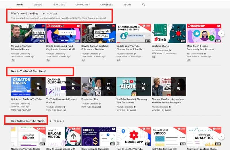 YouTube Sections